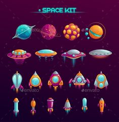 Alien planets, UFOs, rockets and missiles objects in the kit. Fantasy cosmic items for mobile game or web design. Vector GUI elements on space background. Planet Drawing, Planet Design, Aliens, 8 Bits, Space Games, Space Illustration, Alien Planet, Space Backgrounds, Game Icon
