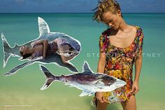 Love the graphic images! It's a fashion print ad, but it's so much more, because of the 'fish' elements and the composition of it.