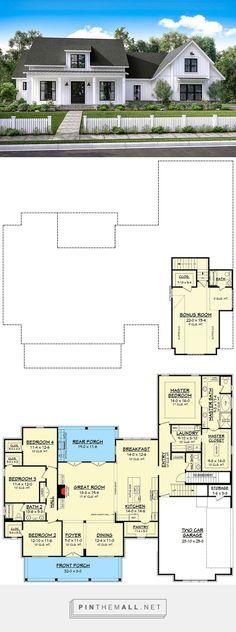 Architectural Designs -- Modern Farmhouse Plan with Bonus Room  Plan 51754HZ || 2,686 S.F.;  4 - 5 BEDS;  3 + BATHS;  1-2 FLOORS;  2 CAR GARAGE - created via https://pinthemall.net