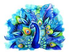 Peacock in Full Bloom  Watercolor Fantasy Painting by AnnyaKaiArt