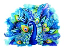 Peacock in Full Bloom  NEW Watercolor Fantasy Painting by annya127