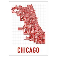 killer Chicago map comprised of text
