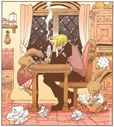 Sanji - the tumblr tag was that maybe he's writing a letter to Zeff