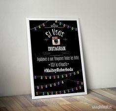 Imprimible para indicar el Hastag de tu boda a tus invitados.