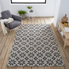 Iswik Flat Weave Rug With Cement Tile Motif An Original Design In Sophisticated Neutral