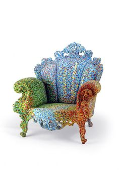 The Flying Room — Design Classic, Best Chair Deisng in History, Prost Armchair, Alessandro Mendini Mosaic Furniture, Funky Furniture, Unique Furniture, Painted Furniture, Furniture Design, Silla Art Deco, Sofa Chair, Armchair, Sicis Mosaic