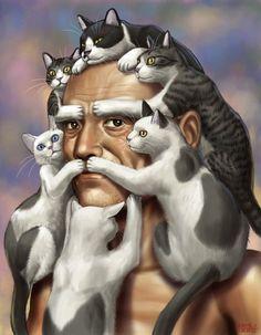 Hombre con cabellera y barba de gatos