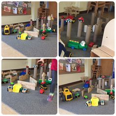 "Feb 13, 2017: Over the last few months we have been asking children to help set-up activities. They really want and like the responsibility and tend to refer to themselves as ""teachers"". Today, Cody, Paige, Arielle and Mackenzie blew us away with this amazing and complex set-up of various materials and cars/trucks. I can definitely say it brought a lot of pride and joy for us to see what they created for themselves, and their peers!"