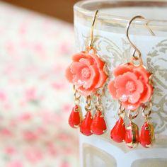 Little Coral Chandelier Earrings by NestPrettyThingsShop on Etsy, $25.00