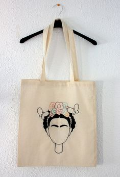 Frida khalo Tote bag Embroidered and hand painted bag