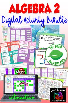 20 Engaging No Prep Paperless Digital Activities to enhance and supplement your Algebra 2 class bundles for savings. Algebra 2 Activities, Back To School Activities, College Math, We Are Teachers, Secondary Math, Educational Videos, Calculus, Curriculum