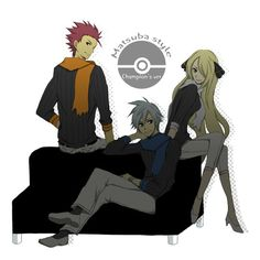 Lance, Steven, and Cynthia- artist unknown Pokemon Mew, Pokemon Comics, Pokemon Fan Art, Pokemon Ships, Pokemon Images, Pokemon Pictures, Pokemon Steven Stone, Pokemon Human Characters, Pokemon Cynthia