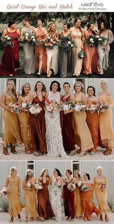 Trending 15 Ideas for Burnt Orange Bridesmaid Dresses for 2019 is part of Orange bridesmaid dresses - In the last article we showed you 10 Hot Wedding Color Trends for one color among them is u Burnt Orange Bridesmaid Dresses, Burnt Orange Weddings, Orange Wedding Colors, Fall Wedding Colors, Wedding Bridesmaid Dresses, October Wedding Dresses, Burnt Orange Dress, Orange Wedding Dresses, Bridesmaids With Different Dresses