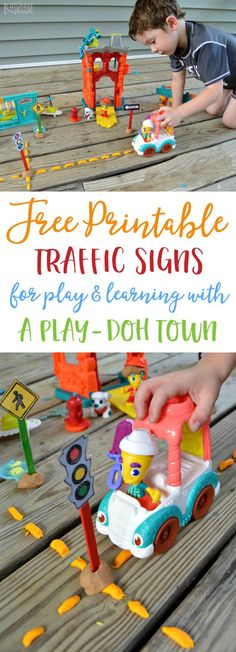 Free Printable Traffic Signs for a DIY Play and Learning Activity - perfect to pair with PLAY-DOH Town Playsets! #PlayDohTown #IC (ad)