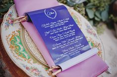 scroll menu, vintage dishes on a birch charger www.happilyeveraftereventsinc.ca and facebook at HAPPILY EVER AFTER EVENTS INC.