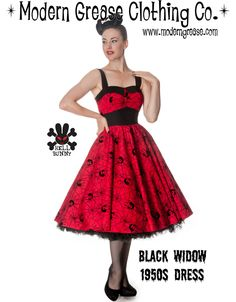 f1411788764 Black Widow 1950s Dress in Red and Black Grease Clothing