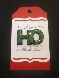 Christmas tag using CTMH card stock  & stamp & CTMH Art Philosophy Cricut cartridge.
