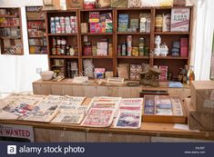 Download this stock image: 1940s replica grocers shop with packets of food and household items on the shelves at a historical military Reenactment show. UK - E6J927 from Alamy's library of millions of high resolution stock photos, illustrations and vectors.