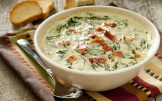 Cheesy Spinach Bacon Dip With The Prerequisite Amount Of Cheese And Bacon, This Spinach Dip Knocks It Out Of The Park! Dip Recipes, Appetizer Recipes, Cooking Recipes, Avacado Appetizers, Prociutto Appetizers, Mexican Appetizers, Elegant Appetizers, Halloween Appetizers, Dip Appetizers