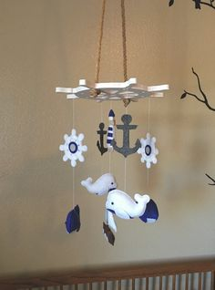 Baby mobile  nautical mobile  whale mobile  by littleHooters