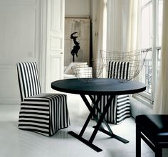 Interior, : Inspiring Home Interior Design With Round Black Tabletop On Nice Black Legs Combine With Striped White Black Chairs Cover And Elegant Black Chair Combine With White Floor