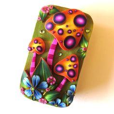 Orange Toadstool Garden Slide Top Tin Sewing Needle by Claybykim