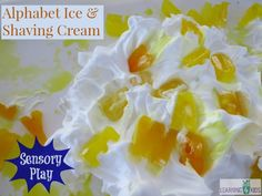 Alphabet Ice and Shaving Cream, sensory play by learning 4 kids **Cool whip and jello jiggles for taste- safe play** Toddler Learning Activities, Indoor Activities For Kids, Alphabet Activities, Sensory Activities, Play Activity, Toddler Games, Activity Bags, Toddler Class, Learning Letters