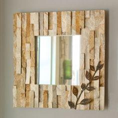 Ledge Wall Mirror  Natural Stone  Patina Metal by stonegifts, $195.00