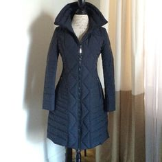 Maximillian Krio down fill coat women's size xs New without tags, unworn Light weight and incredibly warm for the cold winter! Maximilian Krio navy blue coat. 90% down fill 10% feather fill. Purchased from Bloomingdales originally for $1300 Maximillian Jackets & Coats Puffers
