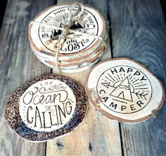 Wood Coasters *SET* - Nautical Woodburned Coaster - Wooden Coasters - Pyrography - Woodburning - Wood Burned Beach Art