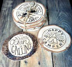 Wood Coasters *SET* - Nautical Woodburned Coaster - Wooden Coasters - Pyrography - Woodburning - Wood Burned Beach Art