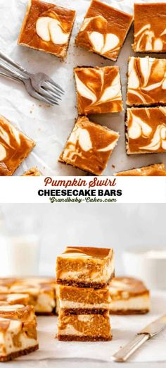 Perfectly fall spiced pumpkin pie is swirled into rich decadent cheesecake baked on a crisp Biscoff cookie crust!  These Pumpkin Swirl Cheesecake Bars are the best Autumn dessert ever! #cheesecake #pumpkin #crust #cookiecrust #biscoff #swirlbars #bars #brownies #falldessert