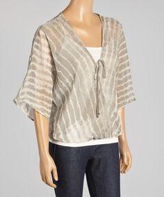 Another great find on #zulily! Silver Tie-Dye Blouson Top - Women #zulilyfinds