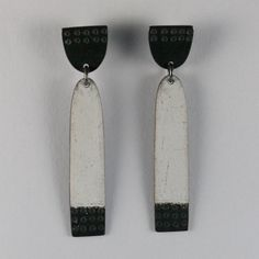 Long Buoy Earrings White | Contemporary Earrings by contemporary jewellery designer caroline finlay