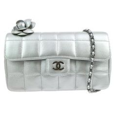 fa7f11a1452 Chanel Silver Leather Flower Silver Gunmetal Evening Shoulder Flap Bag  Leather Flowers
