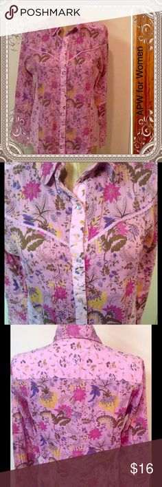 Button Down Boho Chic Fun and flirty button down with faux pearl snaps. Colors of pink, fuscia, yellow, and blue. Cowboy boots and jeans make this quite an ensemble for a fun night out. APW for Women Tops Button Down Shirts
