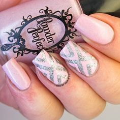 Powder Perfect Isolde X design ~ 'Isolde' is a creme base polish with tiny silver particles throughout. I paired it up with a England 'Merlin' and did the cross design on my middle fingers. ~ by It's all about the polish