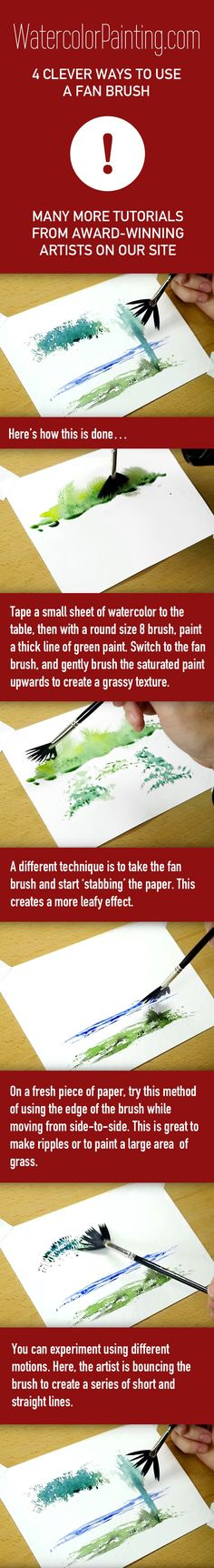 Click here for free full tutorial: http://bit.ly/1lCdYXy Includes video. Learn how to turn your fan brush into your new favorite brush with these 4 nifty watercolor techniques. Various beginner, intermediate & advanced watercolor techniques are taught on this site. #paintingideas