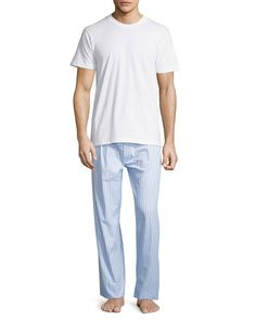 Men's Two-Piece Boxed Pajama Set w/ Striped Pants, Assorted, Size: M - Neiman Marcus