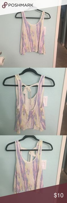 Colorful tank top with open back 100% viscose w/ polyester trim Urban Outfitters Tops Tank Tops