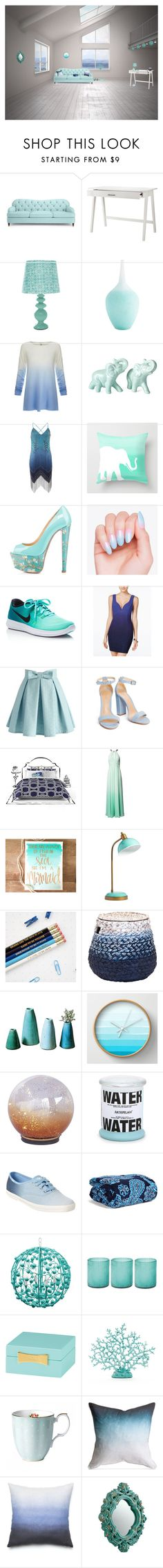 """Accent of Blue"" by sml71402 ❤ liked on Polyvore featuring interior, interiors, interior design, home, home decor, interior decorating, Kate Spade, Threshold, Joie and Haute Hippie"