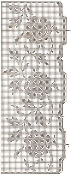 This Pin was discovered by Тво Filet Crochet Charts, Crochet Borders, Knitting Charts, Knitting Yarn, Crochet Stitches, Crochet Patterns, Crochet Curtains, Crochet Tablecloth, Crochet Home