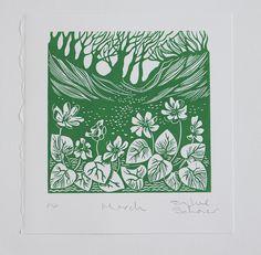 March - Celandines in the Sunken Lane. Original Linocut, handmade wall art. by SophieScharerGallery on Etsy