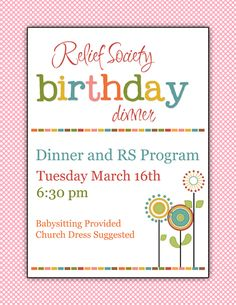 Great Relief Society LDS Birthday Party idea!