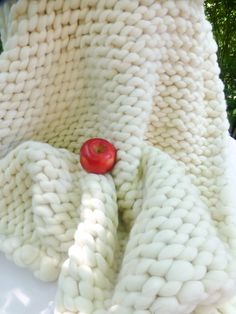 Chunky Blanket 36x60 Merino Wool Natural Hand by ColorwaysGallery