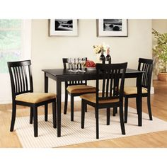 Lexington 5-Piece Dining Table Set with Mission-Back Chairs, Black Walmart 289.00