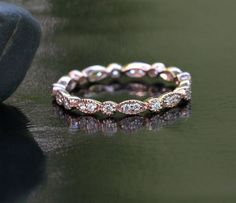 Marquese and Bubbles Full Eternity Milgrain 14k Rose Gold Diamond Ring