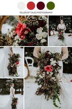 This deep red accent in this wedding bouquet adds the perfect amount of color. For more of this unique wedding bouquet design visit Teller of Tales Photography. Bridesmaid Flowers, Bride Bouquets, Wedding Color Schemes, Wedding Colors, Winter Bouquet, Alternative Bouquet, Winter Wedding Inspiration, Flower Girl Basket, Wedding Themes