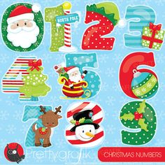 80% OFF SALE Christmas numbers clipart commercial use, vector graphics, digital clip art, holidays - CL934