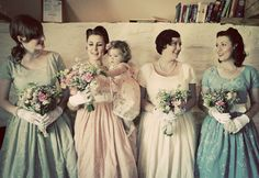 50s style bridesmaids. Dresses by Tara Starlet. 1950s tea party wedding ©maria farrelly Photography